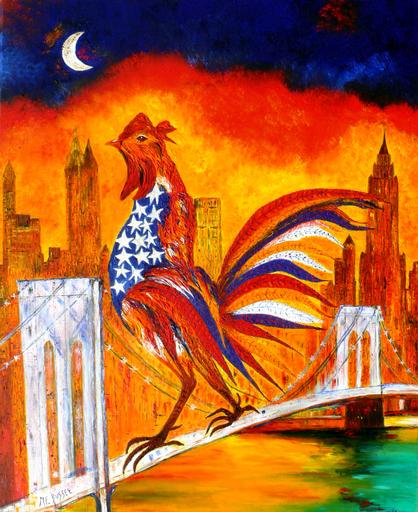 Marie-France BUSSET - Gemälde - LE COQ A NEW YORK SUR LE PONT DE BROOKLYN