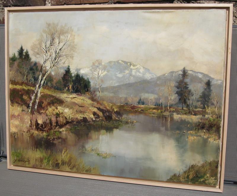 Josef BURGER - Pintura - Oberbayrische Landschaft an der Loisach,Benediktbeuren/Penzb