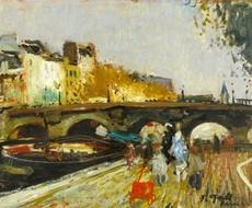 François GALL - Pintura -   Bridge over the Seine, Paris