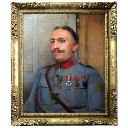 Paul Alexandre A. LEROY - Pintura - Huile sur toile Portrait de militaire