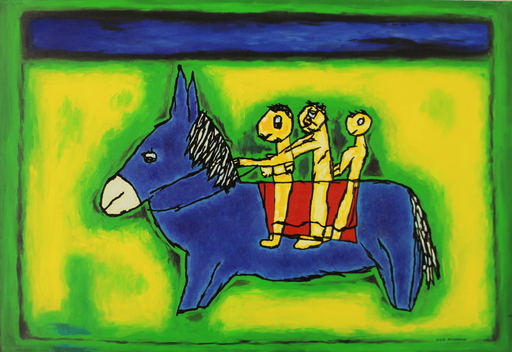 Meir PICHHADZE - Painting - Blue donkey with 3 riders