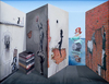 Patrick HUGHES - Painting - Walls have ears