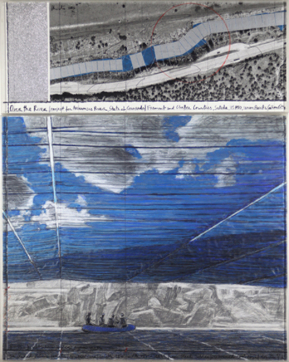 CHRISTO - Pittura - Over the River, Project for the Arkansas River, State of Col