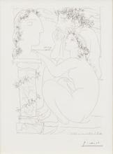 Pablo PICASSO - Estampe-Multiple - Sculpteur et Modèle admirant une Tête sculptée, Pl.45 from '