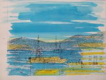 """Jean CARZOU - Dibujo Acuarela - """"Les Voiliers dans la Baie""""1975"""