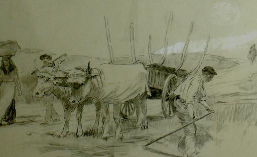 Ulpiano CHECA Y SANZ - Drawing-Watercolor -  Travaux des champs -  Pays Basque