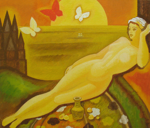 "Sergey BORISOV - Pittura - ""In a golden land far away"" Women nude abstract"