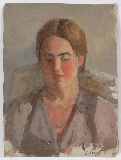 """Stepan Fillippovic GOLUB - Pintura - """"Female Portrait"""", 1950s, Oil"""