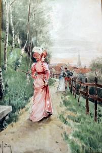 Henri JOURDAIN - Dibujo Acuarela - La promenade