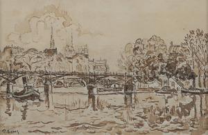 Paul SIGNAC - Zeichnung Aquarell - La Seine à Paris, la passerelle des Arts