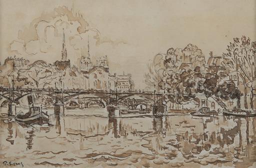 Paul SIGNAC - Drawing-Watercolor - La Seine à Paris, la passerelle des Arts