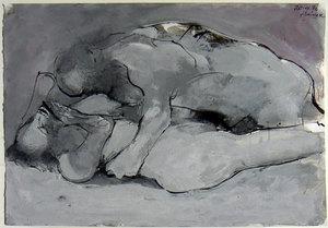 Franco FRANCESE - Peinture - Coppia (Notte d'amore)