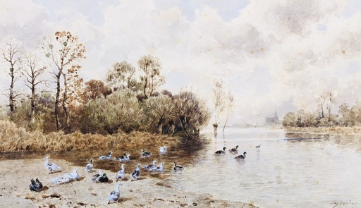 Eugène CICÉRI - Dibujo Acuarela - au bord de l'eau