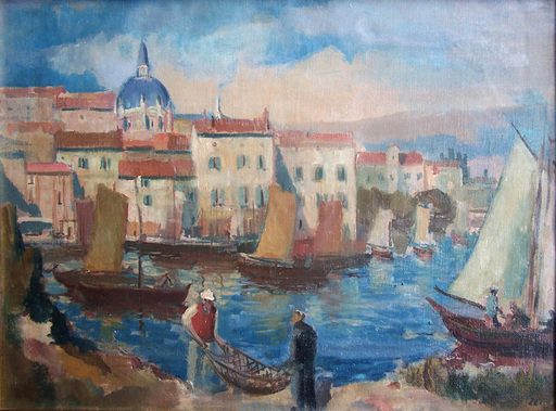 Jakob STEINHARDT - Painting - The Dalmatian Port