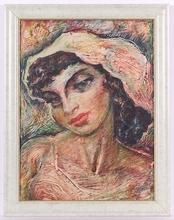 """Josef ADAMICEK - Peinture - """"Portrait of a Woman"""" by Josef Adamicek,ca 1960"""