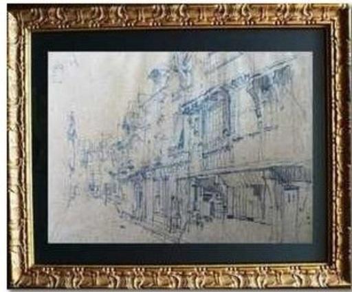 Léon Augustin LHERMITTE - 水彩作品 - « Ruelle du vieux Tours »