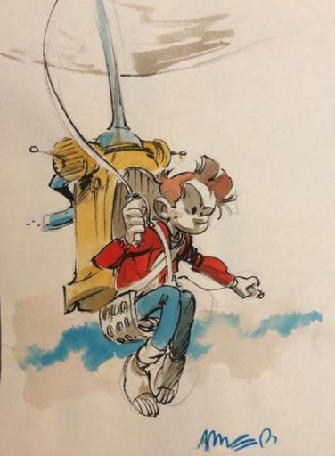 José Luis MUNUERA - Dibujo Acuarela - Spirou et le fantacoptère