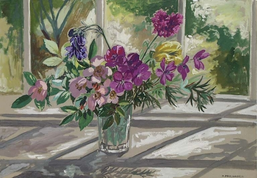 "Hermine FAULHABER - Pittura - ""Flowers at Window"" by Hermine Faulhaber, ca 1930"
