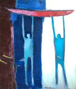Michel DELAQUAIZE - Pintura - Homme bleu à la pirogue rouge