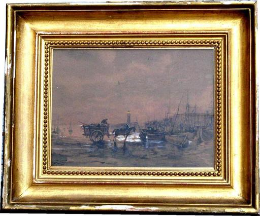 Louis GONYN - Drawing-Watercolor - LE RAMASSAGE DU VARECH AU CREPUSCULE