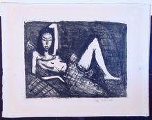 奥托·穆勒 - 版画 -  Girl on the Sofa | Mädchen auf dem Kanapee