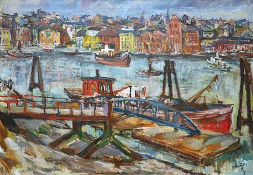 Carl BUSCH - Painting - Hamburger Hafen