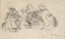 Raffaele RAGIONE - Dibujo Acuarela - Balie al Parc Monceau a Parigi