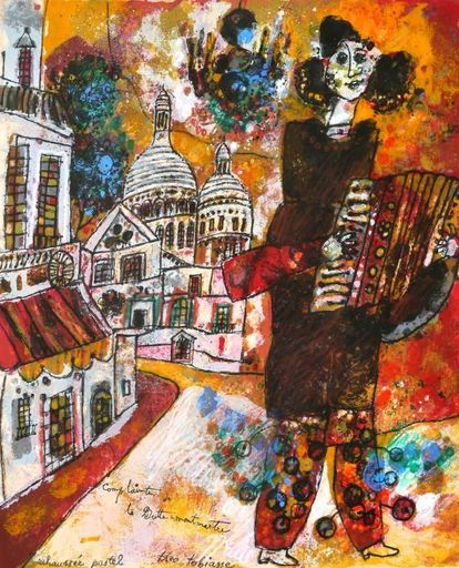 Théo TOBIASSE - Drawing-Watercolor - Accordionist in Montmartre