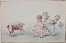 """Raimund VON WICHERA - Dibujo Acuarela - """"New Year's Greetings"""", Watercolor"""