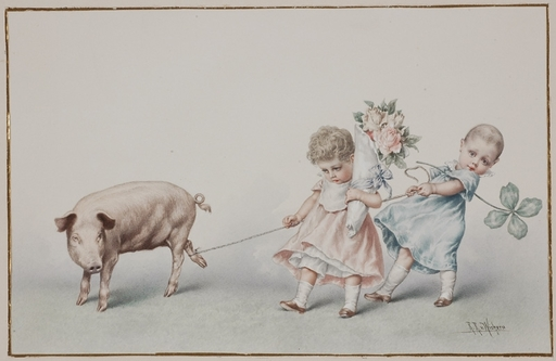 "Raimund VON WICHERA - Drawing-Watercolor - ""New Year's Greetings"", Watercolor"