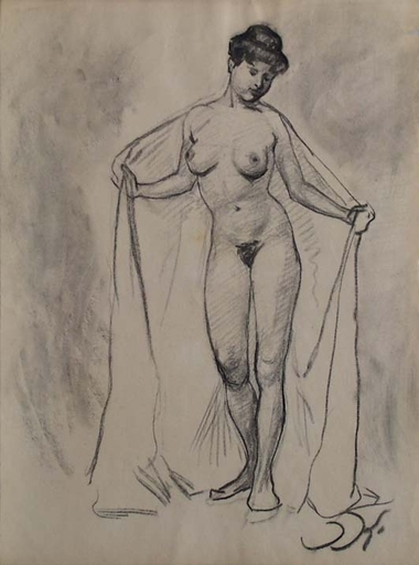 "Josef KALOUS - Drawing-Watercolor - ""Female Nude"" by Josef Kalous, ca 1910"