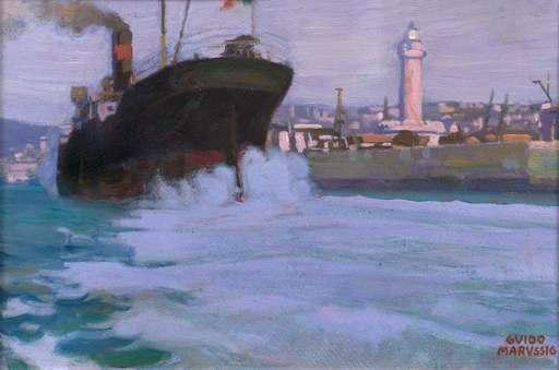 Guido MARUSSIG - Gemälde - Trieste Nuova - La lanterna