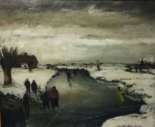 Gaston VAN LANDEGHEM - Peinture - Ijspret op de leie