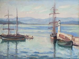 Henri MANGUIN - Painting - L'entrée du port de Saint-Tropez