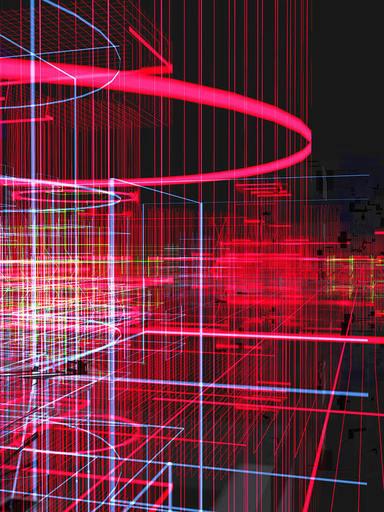Miguel CHEVALIER - Print-Multiple - Meta cités filaire rouge