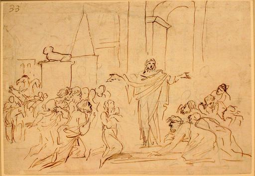 Pier Francesco MOLA - Drawing-Watercolor - Joseph and his Brethern in Egypt (Genesis XXXVII.)