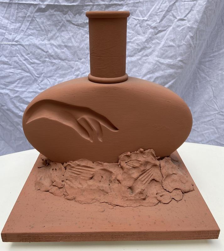 Serge MANSAU - Sculpture-Volume - Sculpture main de Bouddha - 1990