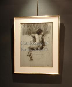 """Ulpiano CHECA Y SANZ - Dessin-Aquarelle - """" Nu de femme  """" Desnudo femenino"""