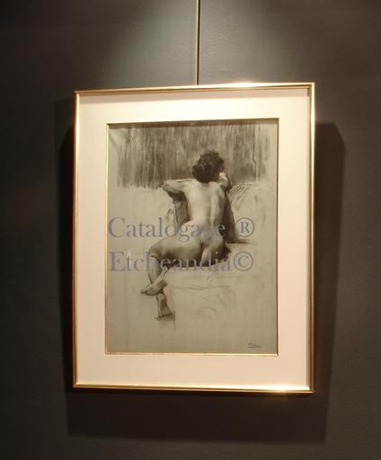 """Ulpiano CHECA Y SANZ - Zeichnung Aquarell - """" Nu de femme  """" Desnudo femenino"""
