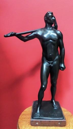 August BISCHOFF - Sculpture-Volume - le mineur et sa pioche