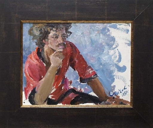"Elena Vatslovana YANCHAK - Peinture - ""Young Gipsy"" by Elena Yanchak, Oil Painting, 1950"
