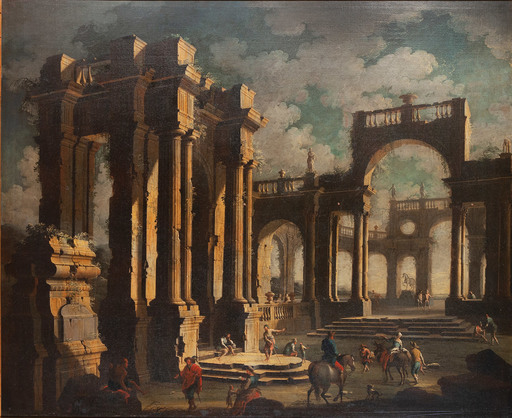 Leonardo COCCORANTE - Pintura - Paesaggio con rovine