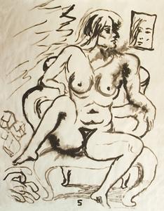Manuel MONTERO - Dessin-Aquarelle - Femme nue n°5