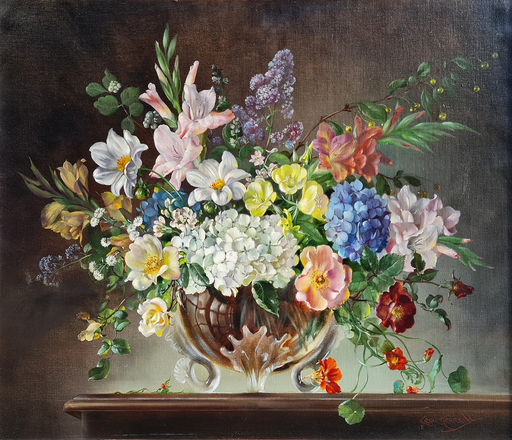 Cecil KENNEDY - Gemälde - Bouquet of Flowers in a Glass Vase