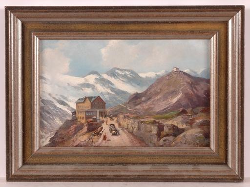 "Karl SCHULTZE - Pittura - ""At the Saint Gotthard Pass in Swiss Alps"", 19th/20th C"