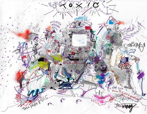 Michael ALAN - Drawing-Watercolor - Toxic America