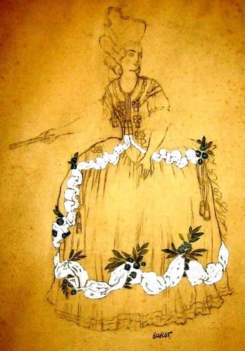 "Léon BAKST - Dibujo Acuarela - Initial draft of a costume design for ""Sleeping Princess"""