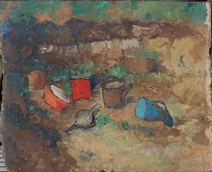 "Jean MONTAUBIN - Painting - ""UN COIN DE JARDIN"""