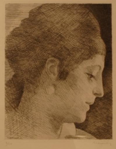 Louis MARCOUSSIS - Print-Multiple - La mere de l'artiste, jeune de profil