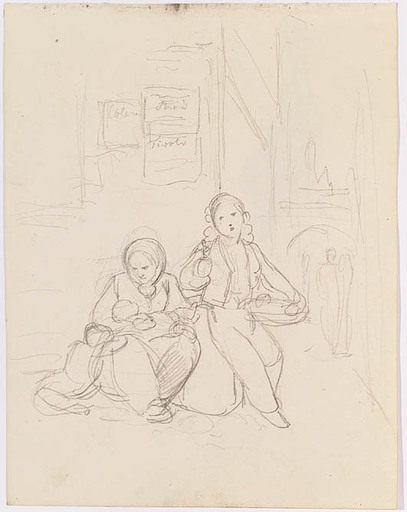 """Mathias RANFTL - Drawing-Watercolor - """"Study"""", early 19th Century"""